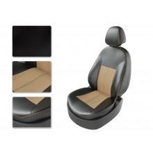 Чехлы на сиденья для Toyota Hilux цвет Черный-бежевый перф-бежевый