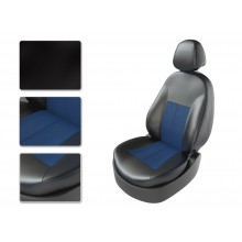 Авточехлы из экокожи на Skoda Octavia Черный-синий перф-синий