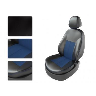 Авточехлы из экокожи на Chevrolet Epica Черный-синий перф-синий