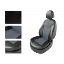 Авточехлы из экокожи на Peugeot Partner Черный-серый перф-серый