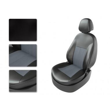 Авточехлы из экокожи на Audi A6 Черный-серый перф-серый