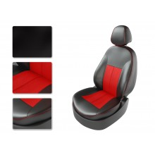 Авточехлы из экокожи на Skoda Octavia Черный-красный перф-красный