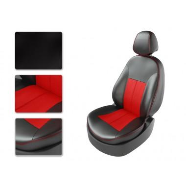 Авточехлы из экокожи на Chery Cross Eastar Черный-красный перф-красный
