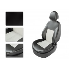Авточехлы из экокожи на Peugeot Partner Черный-белый перф-белый