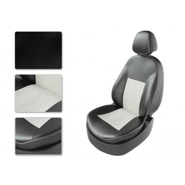 Авточехлы из экокожи на Chevrolet Rezzo Черный-белый перф-белый
