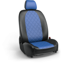 Авточехлы из экокожи на Mercedes E-Classe Черный-синий ромб