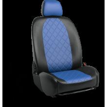 Чехлы на сиденья для Nissan X-Trail Черный-синий ромб