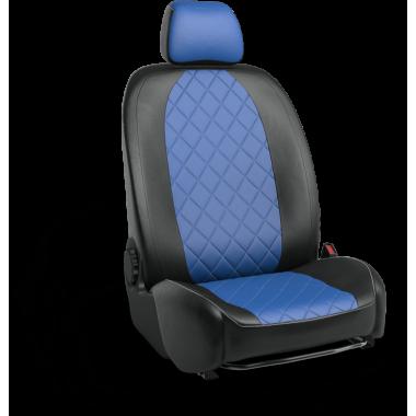 Авточехлы из экокожи на Audi A1 Черный-синий ромб