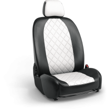 Авточехлы из экокожи на Peugeot Partner Черный-белый ромб