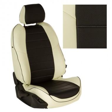 Авточехлы из экокожи на Citroen C5 Белый-Черный перф.
