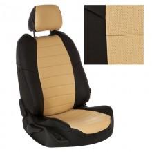 Чехлы на сиденья цвет Черный-бежевый перф.
