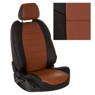Авточехлы из экокожи на Audi Q5 Черный-коричневый перф