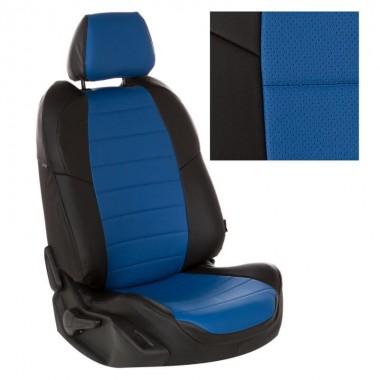 Авточехлы из экокожи на Chevrolet Aveo Черный-синий перф.