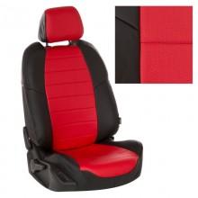 Авточехлы из экокожи на Peugeot Partner Черный-красный перф.