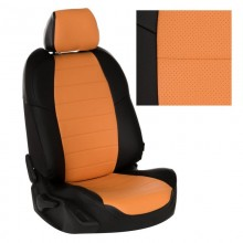 Авточехлы из экокожи на Skoda Octavia Черный-оранжевый перф