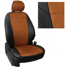 Авточехлы для Kia Sonet коричневая алькантара