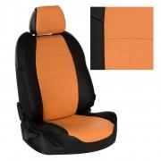 Модельные авточехлы для Volkswagen Taos черные с оранжевым