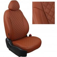 Авточехлы для Kia Sonet коричневый РОМБ