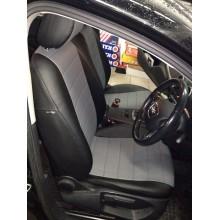 Авточехлы из экокожи на Audi A3 Черный-т.серый перф