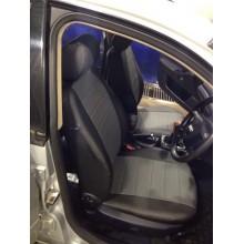 Авточехлы из экокожи на Audi A4 Черный-т.серый перф