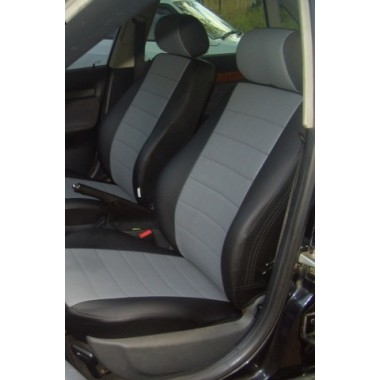 Авточехлы из экокожи на Audi A4 Черный-серый перф.