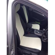 Авточехлы из экокожи на Audi A4 Черный-белый перф.