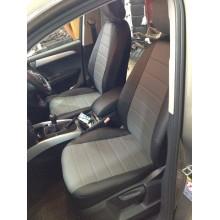 Авточехлы из экокожи на Audi Q5 Черный-серый перф.