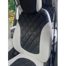 Чехлы на сиденья на Hyundai Creta бело-черный ромб